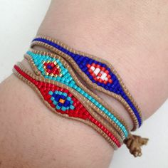 Seed Bead Evil Eye Macrame Bracelet Ready to Ship by HOBIKUTU