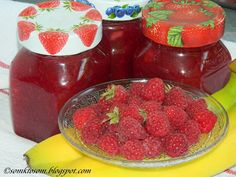 RECEPTY Z MOJEJ KUCHYNE: Malinový džem s banánmi Raspberry, Strawberry, Meals In A Jar, My Recipes, Pudding, Homemade, Fruit, Sweet, Desserts