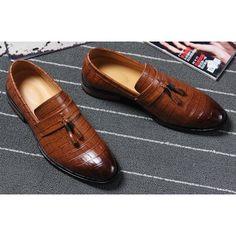 Fashion Brown Leather Wedding Prom Dress Moccasins Shoes for Men SKU-1100021