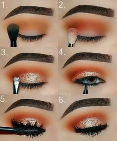 Makeup tutorial: orange and gold glam eye makeup step by step tutorial, perfect date night, girls night or prom look.