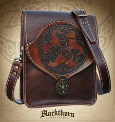 Celtic Horse Shoulder Bag by Blackthornleather.deviantart.com on @deviantART