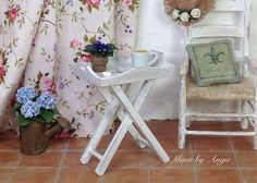 Dollhouse shabby chic table. Wooden tray. by MinisbyAngie on Etsy