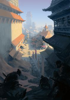 Assassin by FLOWERZZXU Chinese architecture city landscape location environment architecture | Create your own roleplaying game material w/ RPG Bard: www.rpgbard.com | Writing inspiration for Dungeons and Dragons DND D&D Pathfinder PFRPG Warhammer 40k Star Wars Shadowrun Call of Cthulhu Lord of the Rings LoTR + d20 fantasy science fiction scifi horror design | Not Trusty Sword art: click artwork for source