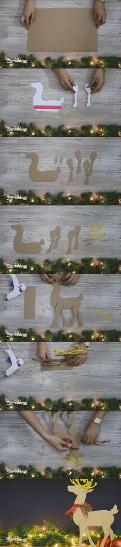 ¡Complementa tu decoración navideña!: Reno de cartón