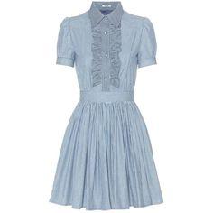 Miu Miu Striped Cotton Dress (17,825 MXN) ❤ liked on Polyvore featuring dresses, vestidos, blues, blue dress, blue stripe dress, cotton day dress, striped cotton dress and cotton stripe dress