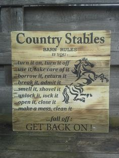 Country stable rules.