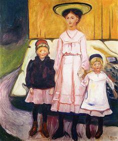 edvard munch(1863-1944), three girls in åsgårdstrand, 1905-06. oil on canvas, 131 x 111 cm. thielska galleriet, stockholm, sweden http://www.the-athenaeum.org/art/detail.php?ID=90012