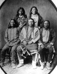 Chief Ouray, center, with Warets, Shavano, Ankatosh and Guerro, sub-chiefs of the Native American Tabeguache (Uncompahgre) Ute band. Date [1868?]: Denver Public Library Western History/Genealogy Dept.