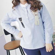 c3f5953c0ce XL-4XL Plus Size Stripe Cutie Cats Shirt SP154436 from Plus Cutie