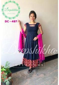 DC - Beauitful blue and pink color combination floor length dress with net dupatta. Pink color net dupatta having multi color tassels.For queries kindly WhatsApp : 9059683293 11 March 2018 Salwar Neck Designs, Kurta Neck Design, Kurta Designs Women, Dress Neck Designs, Blouse Designs, Kalamkari Dresses, Ikkat Dresses, Long Gown Dress, Saree Dress