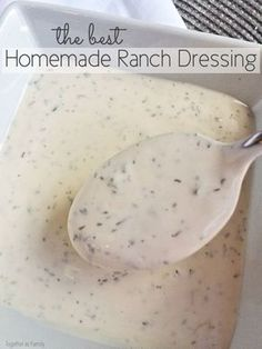 From Denise: Only a handful of ingredients + 1 minute is all you need to make your own homemade ranch dressing. Use it over salads, as a dip, or in any recipe that calls for ranch dressing! This stuff is so easy & delicious! Sauce Recipes, Cooking Recipes, Cooking Tips, Yummy Food, Tasty, Salad Dressing Recipes, Homemade Salad Dressings, Homemade Sauce, Homemade Food