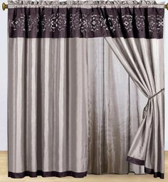 """Purple Floral Embroidered Curtain Set w/ Valance/Sheer/Tassels by KingLinen. $29.99. This is the matching curtain set for the floral embroidery comforter set.FeaturesColor: PurpleMatching Comforter AvailableThis set includes:2 Curtain Panels w/Attached Valance and Sheer Backings(60""""x84"""" x2)2 Tieback Tassels. Save 75% Off!"""
