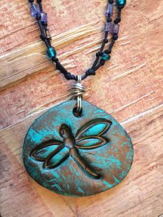 """Dragonfly Jewelry Necklace 20"""" Beaded UNIQUE Clay Hand Painted Spirituality  