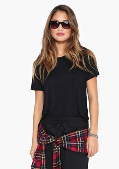 Basic Black Tee Shirt // love it paired with a plaid shirt