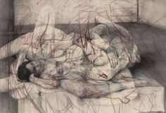 One out of two (symposium), 2016 Charcoal and pastel on canvas, 152 x 225 x 3.2 cm  © Jenny Saville. Courtesy of the artist and Gagosian. Photo: Mike Bruce