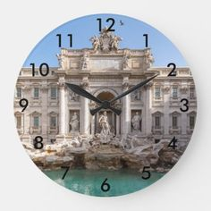 Trevi Fountain at early morning - Rome Italy Large Clock Travel Wall Decor, Trevi Fountain, Large Clock, Rome Italy, Early Morning, White Marble, Clocks, Keep It Cleaner, Art
