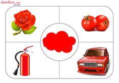 Дидактическая игра учим цвета с ребенком, игровое поле - красный цвет