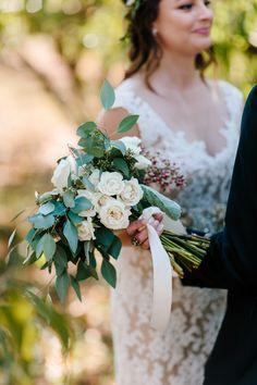 Ben and Colleen Wedding Photographers #greenery bouquet