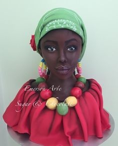Calem afro - cake by Emerson Nogueira Pretty Cakes, Beautiful Cakes, Amazing Cakes, Unique Cakes, Creative Cakes, Cupcakes, Cupcake Cakes, Mini Cakes, African Wedding Cakes