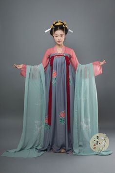 "hanfugallery: "" Traditional Chinese hanfu, qixiong ruqun/chest-high ruqun. Tang dynasty style. 沉香画舫 """