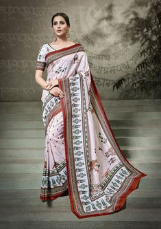 Light Pink Tussar silk saree with Light blue Tussar silk blouse. Embellished with digital print. Saree with Round Neck, Half Sleeve. It comes with unstitch blouse, it can be stitched to 32 to 58 sizes. Tussar Silk Saree, Art Silk Sarees, Traditional Sarees, Traditional Looks, Ethnic Sarees, Light Pink Color, Light Blue, Trendy Sarees, Casual Saree