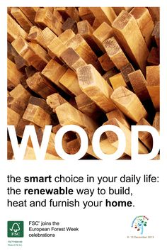 #FSC joins the #EFW2013 celebrations!  #Wood: the smart choice in your daily life – the #renewable way to build, heat and furnish your home.  When purchased from a #sustainable source like #FSC, wood is a great raw material. It is environmentally friendly and renewable. And there are many other reasons to choose forest products like wood, #paper and #cork.