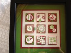 Christmas Themed Squares - Framed - Stampin' Up - Ready To Hang Home Decor -. $29.00, via Etsy.