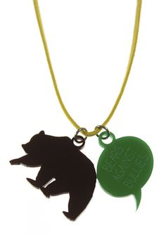 Bears Against Bullies kid necklace in black and green acrylic. Kids Necklace, Pendant Necklace, Cool Necklaces, Bullies, Bears, Green, Jewelry, Jewellery Making, Jewelery