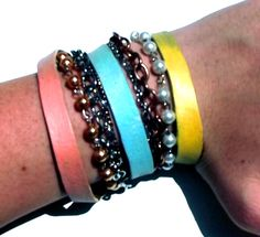 Neon Coral Blue and Yellow Arm Candy Bracelet by Beatniq on Etsy, $25.00