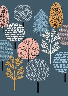 New for Eloise Renouf, Woodland, limited edition giclee print. New for Tree Illustration, Pattern Illustration, Woodland Illustration, Textures Patterns, Print Patterns, Surface Pattern Design, Art Plastique, Giclee Print, Painting