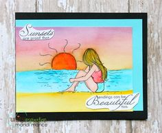 """BRAND NEW on the UNITY Website!  Created by Angie Blom. This kit contains 3 stamps.  Girl with sunset background measures approximately 2.5"""" x 3.75"""".  """"May every sunset hold more promise and every Sunrise hold more peace"""" sentiment measures approximately 1.5"""" x 2"""".  """"Sunsets are proof that endings can be beautiful too"""" sentiment measures approximately 1.25"""" x 2.25"""".  All Unity Stamps are pre-cut, mounted on cling foam and ready to use right out of the package – you can mount our stamps on…"""