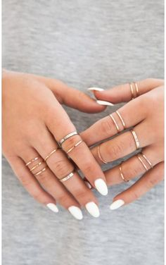 Rings The BEST Online Stores for the Perfect Coachella Outfit & Festival Styles Cant Deny 20 pc ring set in multI Hand Jewelry, Cute Jewelry, Bridal Jewelry, Jewelry Gifts, Jewelry Accessories, Jewlery, Star Jewelry, Body Jewelry, Jewelry Bracelets