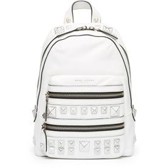 Marc Jacobs Recruit Chipped Studs Leather Backpack ($750) ❤ liked on Polyvore featuring bags, backpacks, leather bags, bike bag, star backpack, white leather backpack and genuine leather backpack