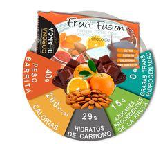 Información nutricional barritas energéticas naturales de naranja y almendras cubiertas de chocolate.