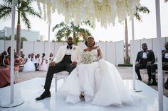 Amanda & Sydney's Outdoor White Wedding in Ghana is GOALS Chic Wedding Dresses, Wedding Bridesmaid Dresses, Sydney White, Wedding Ceremony, Wedding Day, White Tux, Ghana Wedding, African Print Fashion, Real Weddings