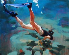 "46"" x 56"" ""Diving the Mayan Riviera"" oil on canvas, by Elizabeth Lennie at Crescent Hill Gallery"