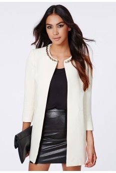 Jasmin Chain Neck Collarless Jacket Ivory