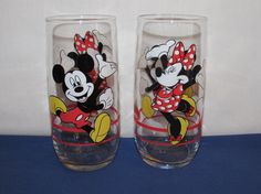 Everyone loves Mickey and Minnie Mouse! Here are glasses that have bright colors, measure 6 inches tall and 2 ½ inches in diameter, and hold 12