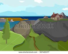 Vector summer landscape. Landscape on the background of sea and mountains. Beautiful background.