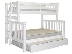 Bedz King Mission Style Bunk Bed Twin over Full with End Ladder and a Full Trundle White * You can find more details by visiting the image link. (This is an affiliate link)