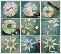 Enfeite de natal - Reciclando Cds ~ Arte De Fazer | Decoração e Artesanato