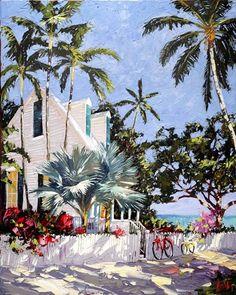 Key West Beach House ~ Peter Vey, Artist Painting & Drawing, Watercolor Paintings, Watercolors, Landscape Art, Landscape Paintings, Caribbean Art, Fru Fru, West Art, Tropical Art