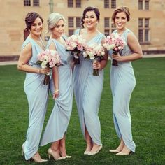 Light blue bridesmaids