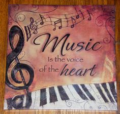 Music Is The Voice of The Heart Piano Keys Canvas Wall Art Print Picture Plaque | eBay