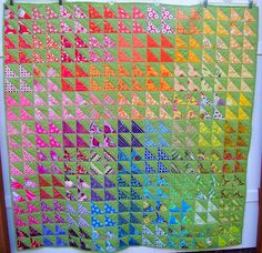 Rainbow Fishes Quilt from My Quilt Diet. Includes link to HST tutorial.