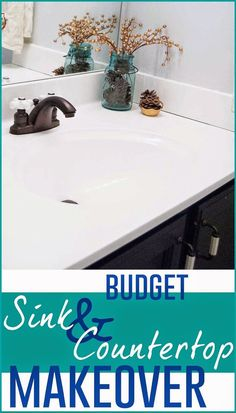 Budget-Friendly Sink and Countertop DIY Makeover - I'm Flying South featured on Remodelaholic by bernice Countertop Makeover, Sink Countertop, Bathroom Countertops, Countertop Transformations, Cabinet Makeover, Counter Top Sink Bathroom, Resurface Countertops, Bathroom Vanity Makeover, Do It Yourself Home