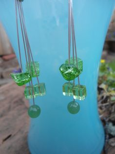 Unique Handmade Dangle Earrings: Jade, Peridot and Green Crackle Stone by ATouchOfT on Etsy