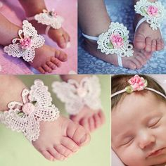 Baby Girl Butterfly Design Foot Band Ties Barefoot Sandals Shoes
