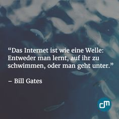 """""""Das Internet ist wie eine Welle: Entweder man lernt, auf ihr zu schwimmen, oder man geht unter."""" - Bill Gates"""