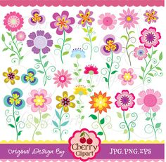 Vintage flowers digital clipart set for -Personal and Commercial Use-paper crafts,card making,scrapbooking,web design
